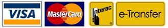 Visa MasterCard Interac eTransfer